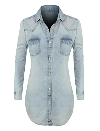 LE3NO Womens Plus Size Classic Loose Fit Chambray Jean Denim Shirt Dress  with Pocket