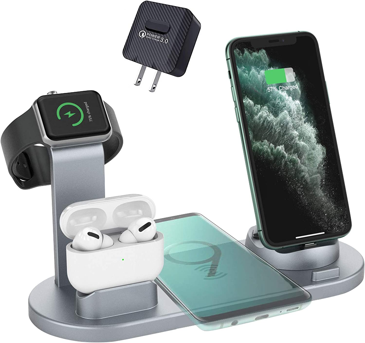 ZHOUBIN Wireless Charger Station, 4 in 1 Charger Dock Stand Compatible with iPhone/AirPods/Apple Watch, Fast Wireless Charging Pad Compatible with iPhone 11, Pro, Max/X/XS/XR/8/8 Plus