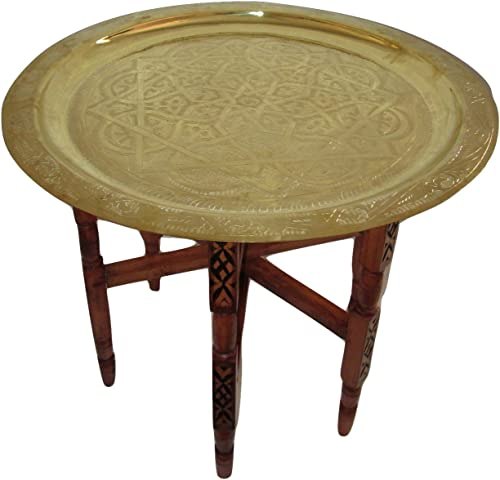 Moroccan Traditional Tea Table Engraved Brass Tray Top Folding Carved Wood 24″