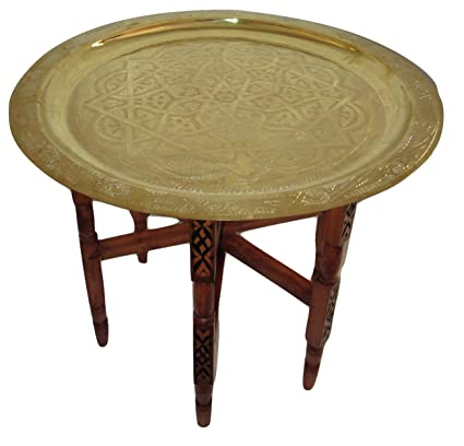 """f88142ca92724 Moroccan Traditional Tea Table Engraved Brass Tray Top Folding Carved Wood  24"""""""
