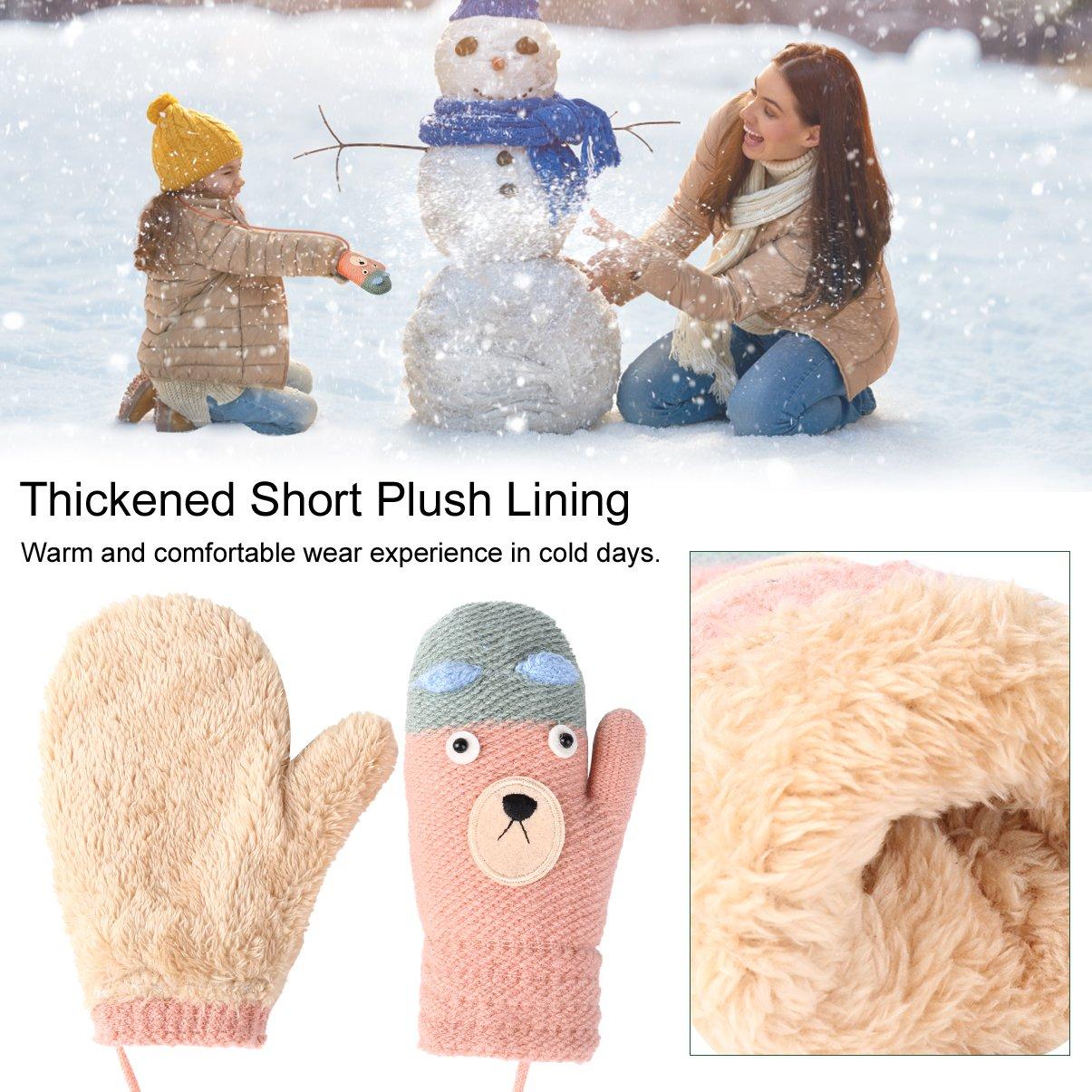 Vbiger Kinder Gestrickte Handschuhe verdickte Gestrickte Handschuhe Weiche Outdoor Winterhandschuhe Warme Handschuhe Bequeme Handschuhe mit niedlichen Cartoon Muster für Kinder zwischen 4-8 Jahre alt