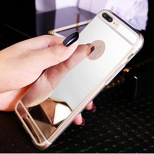 Funda iPhone 8 Plus,Funda iPhone 7 Plus,Cristal brillante Brillo cristalino Enchapado Espejo Flexible TPU Silicona Fundas Skin Cover Carcasa Silicona ...