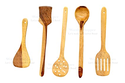 Astonishing Worthy Shoppee Handmade Wooden Serving And Cooking Spoon Kitchen Tools Utensil Set Of 5 Download Free Architecture Designs Grimeyleaguecom