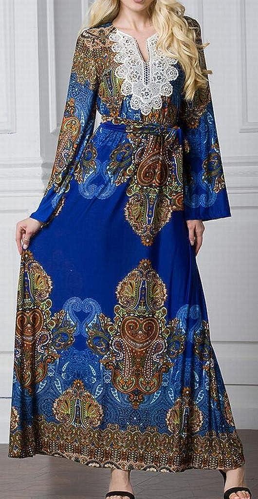 Fubotevic Womens Ice Silk Bohemian Print Plus Size Trumpet Sleeves Beach Evening Party Maxi Dress