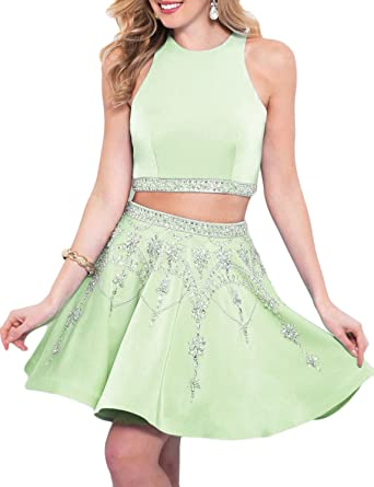 b74e9e9b33 YSMei Women s Two Piece Beaded Homecoming Dresses Short Satin Prom Party  Gown Apple Green 2