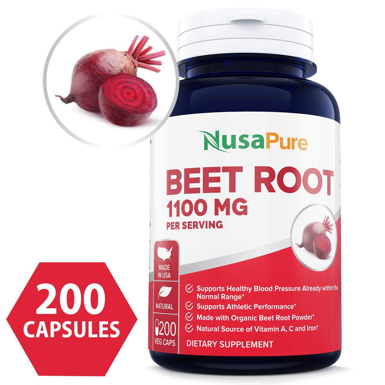 Beet Root 1100mg 200 Veggie caps (Organic, Non-GMO & Gluten Free) - Lower Blood Pressure, Increase Performance, Regulate Insulin Response & Maintain Skin Condition by NusaPure