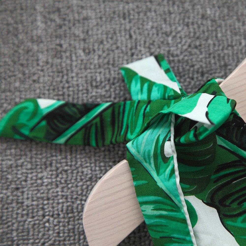 BSGSH Toddler Girls Summer Dresses Palm Leaves Printed Sleeveless Sundress with Hair Hoop Headwear