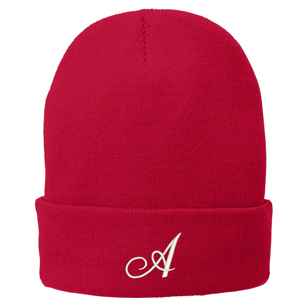 Trendy Apparel Shop Letter A Embroidered Winter Knitted Long Beanie