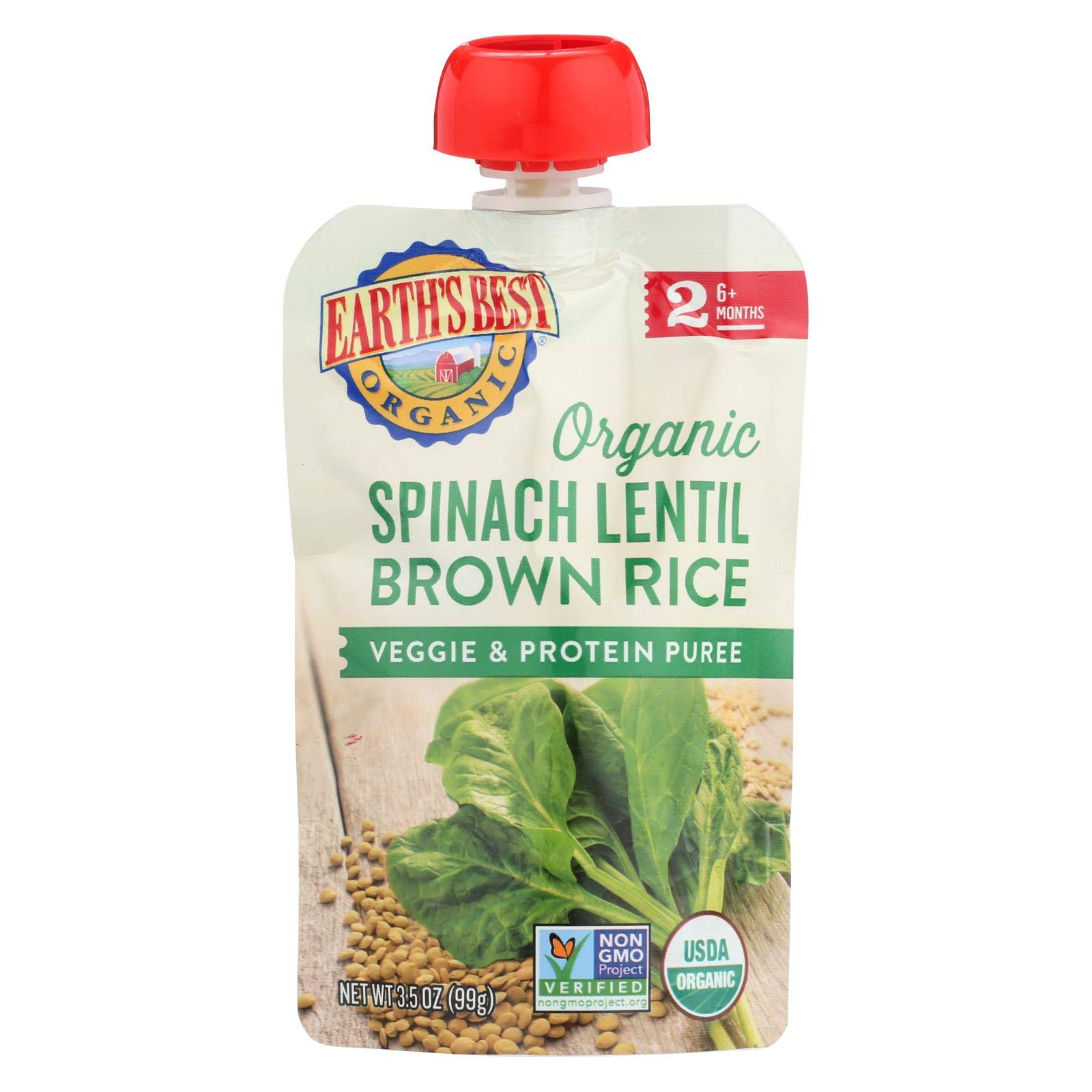 Earths Best Organic Peas Spinach Lentil Brown Rice Veggie Protein Infant Puree Pouch, 3.5 Ounce - 12 per case.