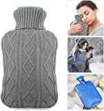 Hot Water Bottle with Knit Cover, UBEGOOD Transparent Hot Water Bag,