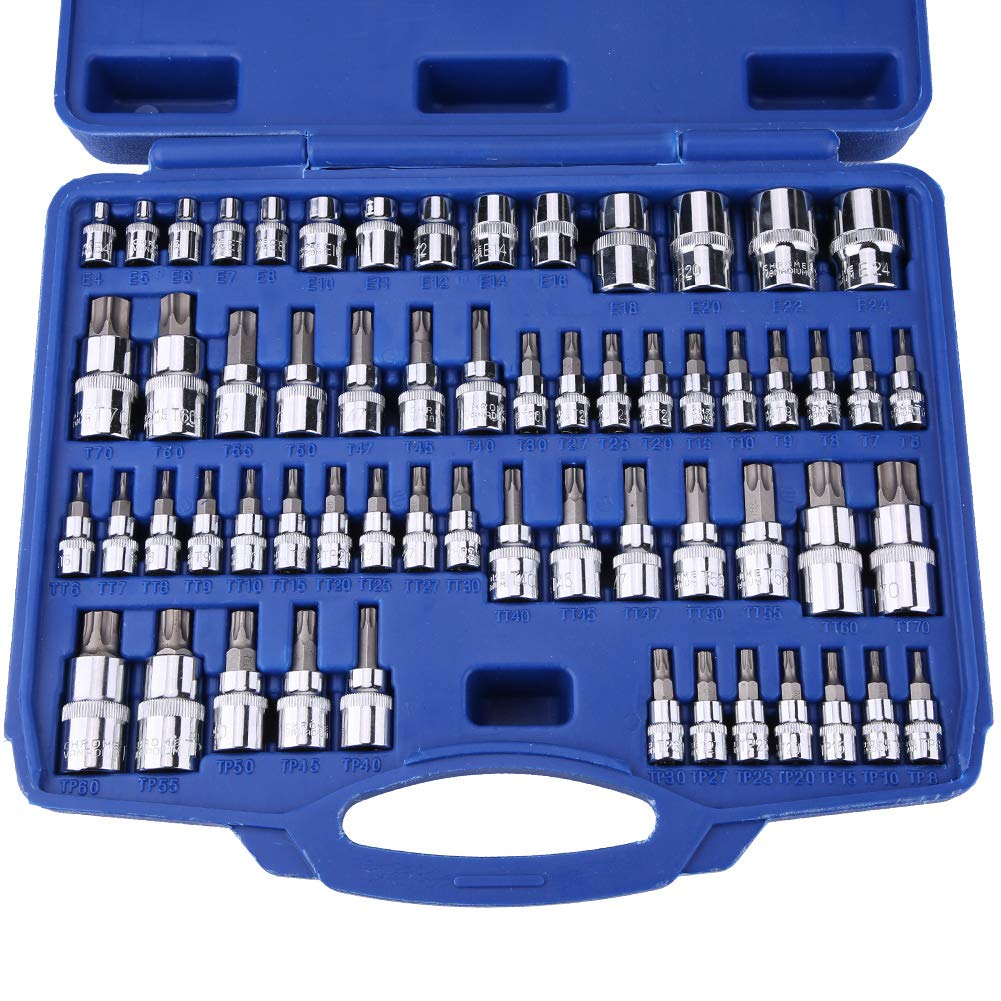 Qiilu Master Torx Star Socket Set, 60Pcs Tamper Proof Torx Star Socket Bits Tool Kit Set 1/4'' 3/8'' 1/2'' Drive by Qiilu