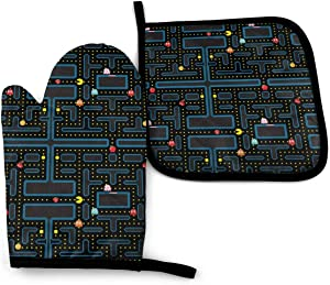 Pacman Retro Video Game Pattern Set of Oven Mitt and Pot Holder Oven Gloves Heat Resistance Non-Slip Surface for Kitchen BBQ Cooking Baking Grilling