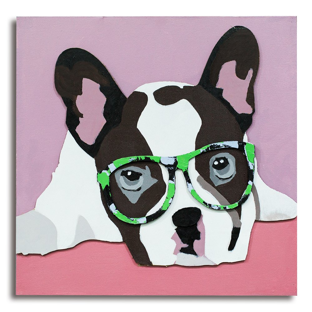 GoodPoint 3D Canvas Carboard Oil Paintings Wall Art Framed with Big Glasses Puppy Decoration Ready to Hang 24x24 inch