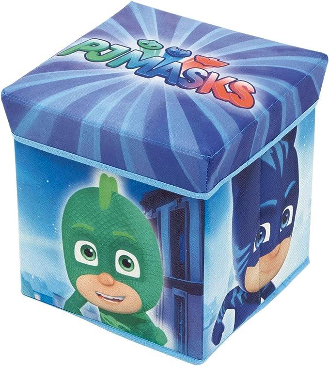 ARDITEX les pyjamasques reposapiés Cubo de almacenaje, poliéster, Azul, 30 x 30 x 30 cm: Amazon.es: Hogar