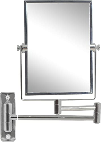 American Imaginations AI-11-646 Rectangle Wall Mount Magnifying Makeup Mirror with Dual 1x 5x Zoom, 5-Inch x 13-Inch, Chrome