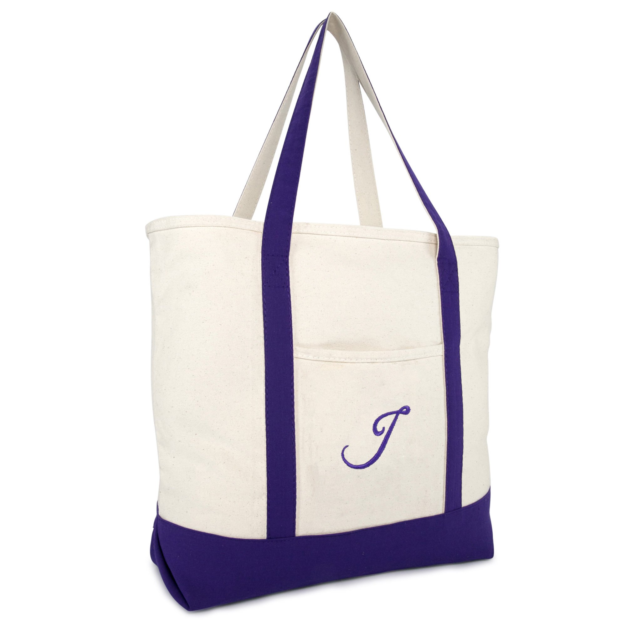 DALIX Personalized Shopping Tote Bag Monogram Purple Ballent Zippered Letter- J