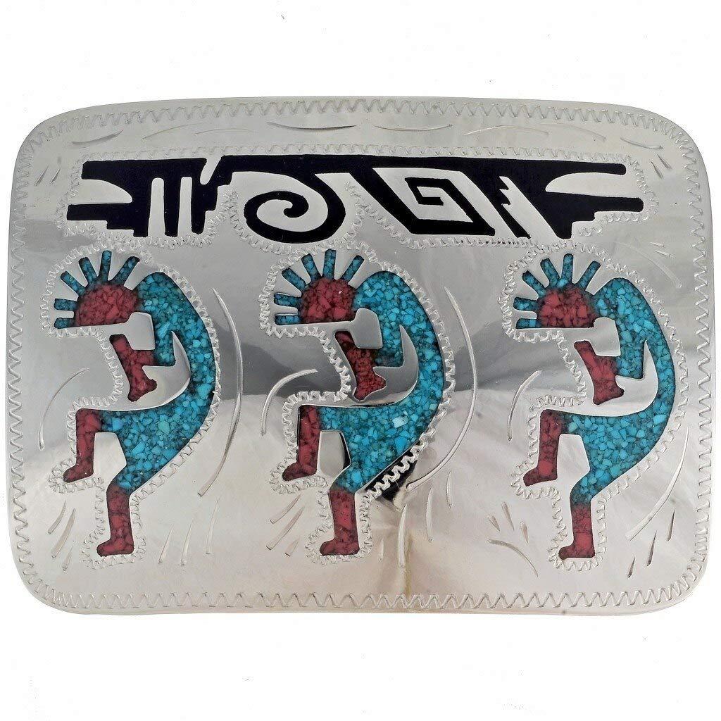 Turquoise Belt Buckle Silver Handmade Inlaid Hopi Kokopellis 0015