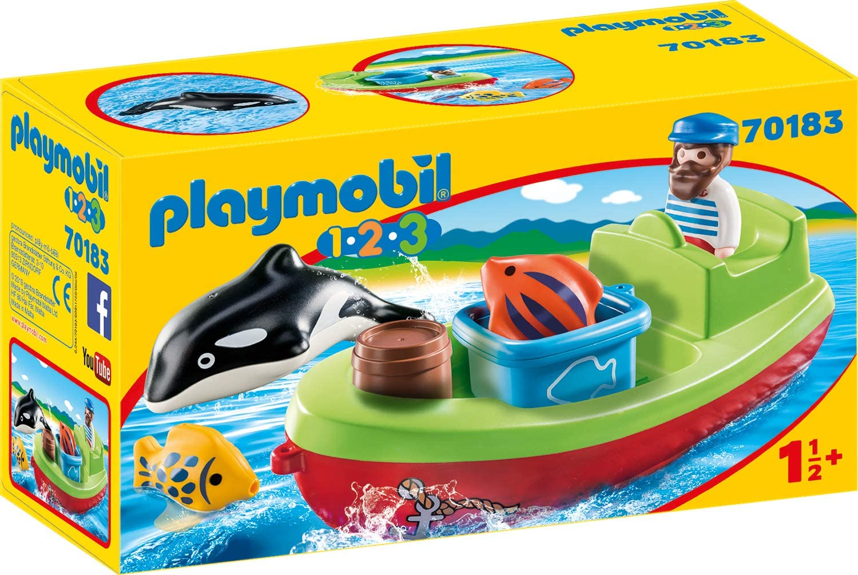 PLAYMOBIL 1.2.3 Pescador con bote, color carbón (70183) , color/modelo surtido