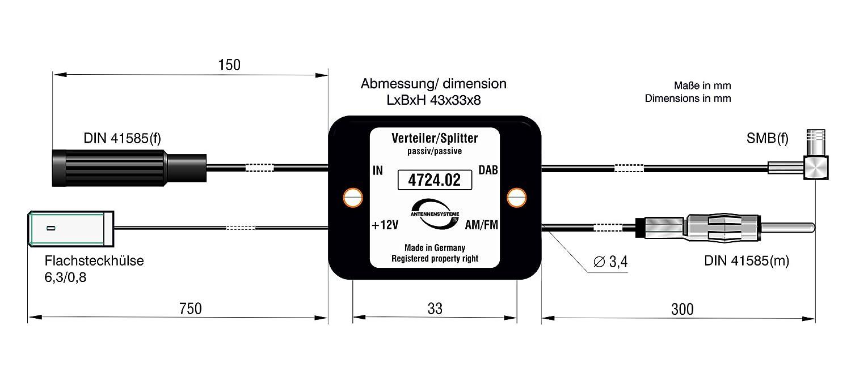 Antennentechnik Bad Blankenburg 4724.02 Passive Frequenzweiche//Verteiler f/ür Aktive Antenne FM//DAB
