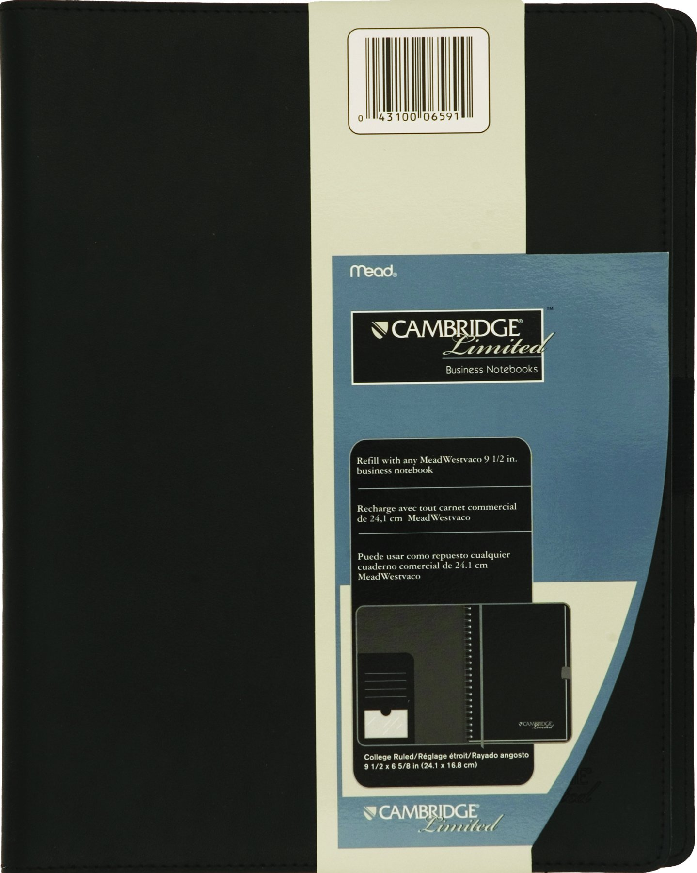 Mead Business Notebook Cover, Portfolio, Padfolio, Refillable, Business Card / Pen Holder, 11'' x 8-1/2'', Black (06591)