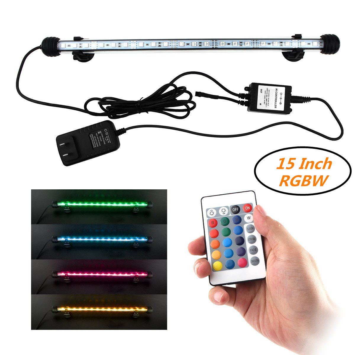 Multi-Color Remote Controlled Dimmable Aquarium Light COVO-ART RGBW LED Light Fixture for Aquarium/ Fish Tank(15inch RGB)