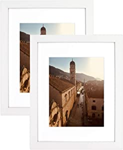 Golden State Art, 11x14 Wooden Picture Frame - Mat for 8x10 Photos - Real Glass - Horizontal and Vertical Wall Display, Great for Engagement, Wedding, Graduation Pictures, White, 2 Pack