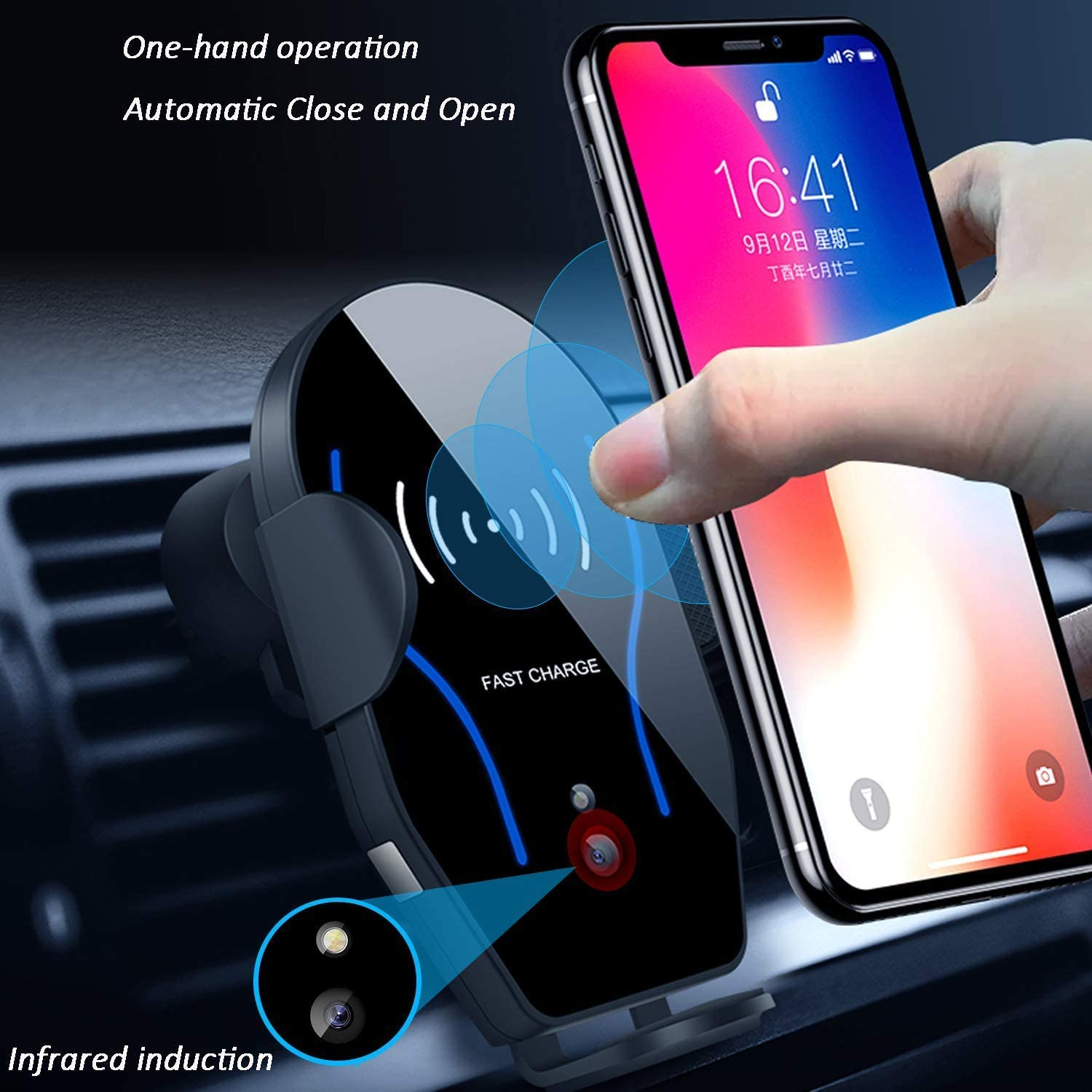 Wireless Charger Car Mount,VIEE Air Vent Automatic Clamping Cell Phone Holder for Car Wireless Charger Compatible with iPhone Xs Max XR XS X Samsung Galaxy S10 S9 S8 S7 Edge Note9