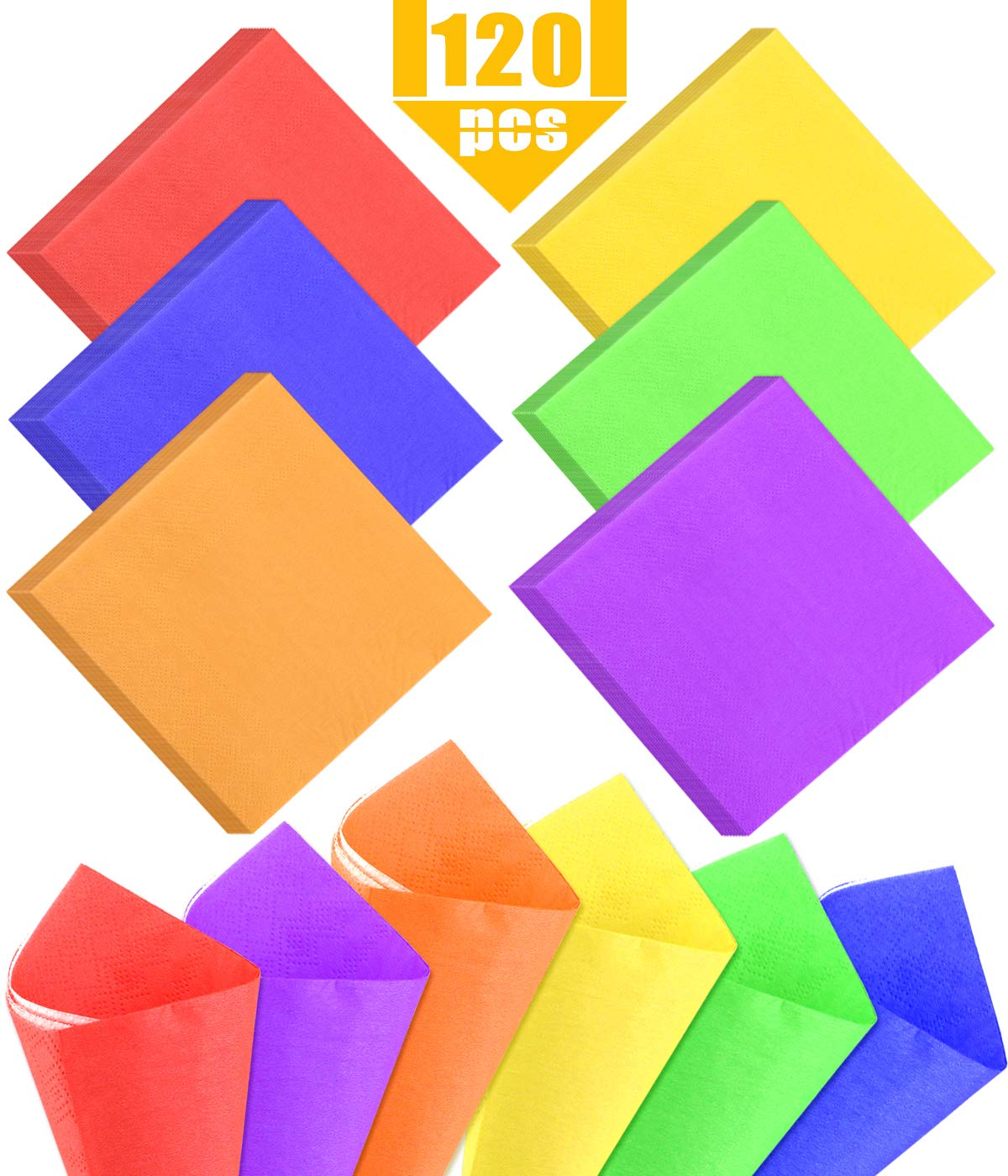 Weoxpr 120 Pieces Rainbow Party Napkins Bright Cocktail Paper Napkin Beverage Luncheon Napkins for Party Supplies, 2 Ply, 10 x 10 Inch, 6 Colors