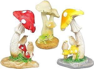 Trasfit Fairy Garden Mushrooms with Cute Birds Miniature Frog, Accessories for Micro Landscape Decoration Plant Pots Bonsai Craft Desktop Decor (3 Mushroom with Bird)