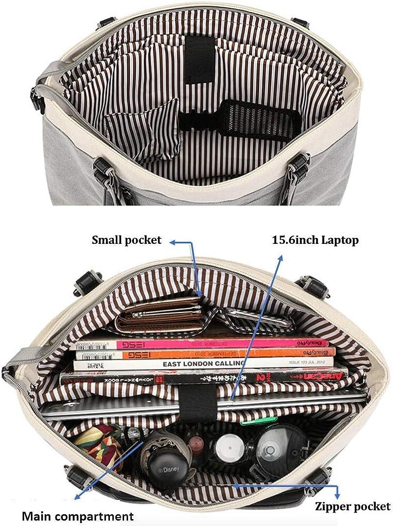 Wxnow Women Laptop Tote Bag Canvas Handbag Purse Shoulder Bag