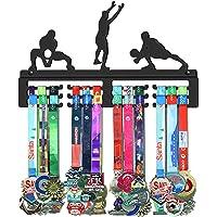 GENOVESE Voleibol Colgador de Medallas, Metal de Acero Negro, Montaje en Pared 50 Medallas