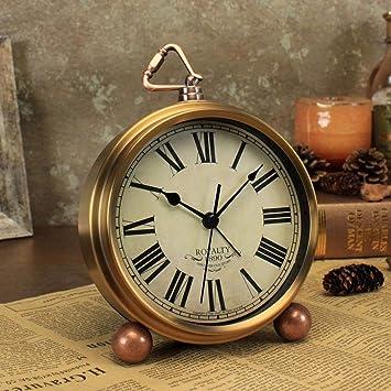 LNDDP Relojes Retro anticuados, Reloj Mesa Oro, Reloj Despertador ...