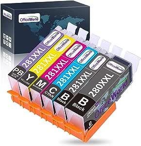 OfficeWorld Compatible Ink Cartridges Replacement for Canon 280 281 PGI-280XXL CLI-281XXL, for Pixma TS9120 TR8520 TS6120 TS6320 TS6220 TS8120 TS8220,6 Pack(1PGBK, 1BK, 1C, 1M, 1Y, 1PB)