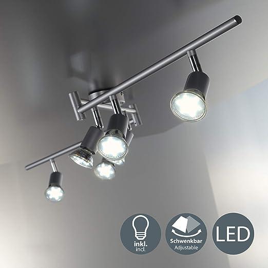 BKLicht - Lámpara de techo con 6 focos LED GU10, focos ajustables y giratorios para interiores