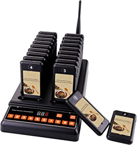 CallToU 20 Restaurant Pager Buzzers Guest Waiting Pager + 1 Keypad Caller Wireless Paging System Calling System for Church Food Truck Coffee Shop Clinic Nursery