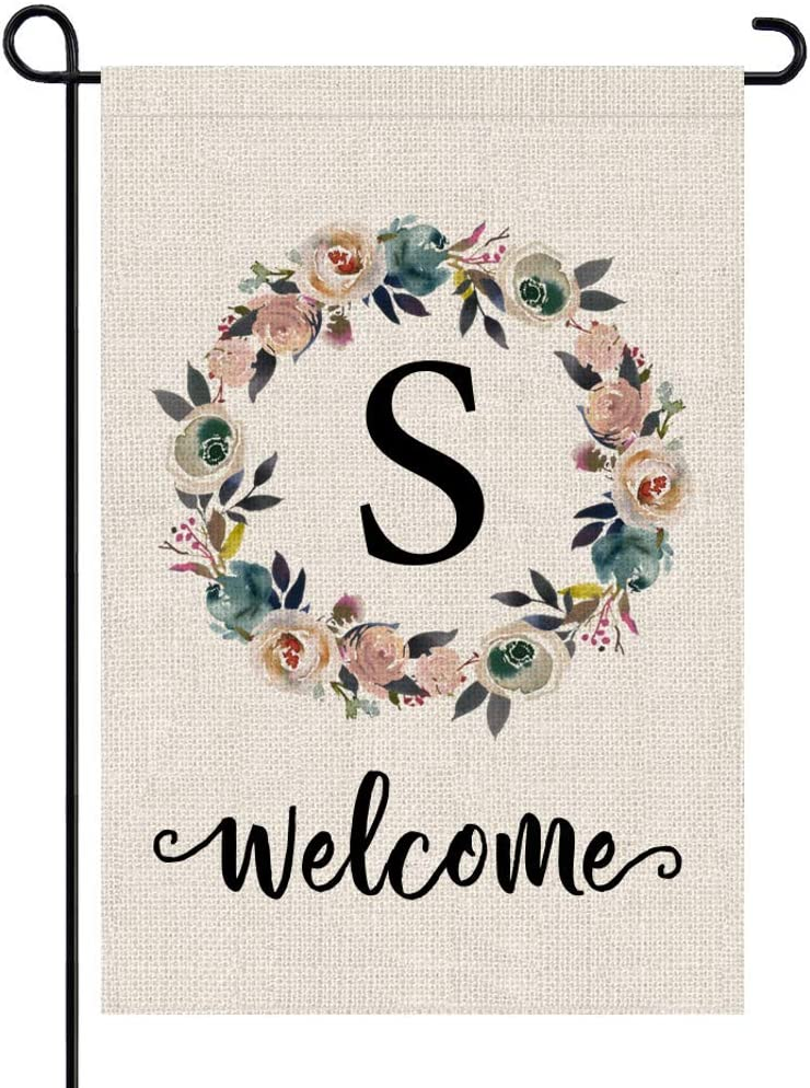 PARTY BUZZ Monogram Wreath Letter S Burlap Garden Flag Floral Initial, Double Sided, 12.5 x 18 Inch, Small Mini Outdoor Yard Flag