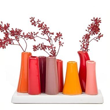 Chive - Pooley 2, 7.25  Long 3  Wide 4.5  Tall Unique Rectangle Ceramic Flower Vase, Small Bud Decorative Floral Vase Home Decor Centerpieces, Arranging Bouquets, Connected Tubes (Pumpkin Orange Red)