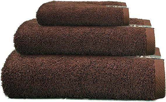 Cabetex Home - Juego de Toallas 100% Algodón Peinado - 550 Gr/m2 - Tres Piezas - Toalla de baño, Lavabo y Tocador (Chocolate): Amazon.es: Hogar