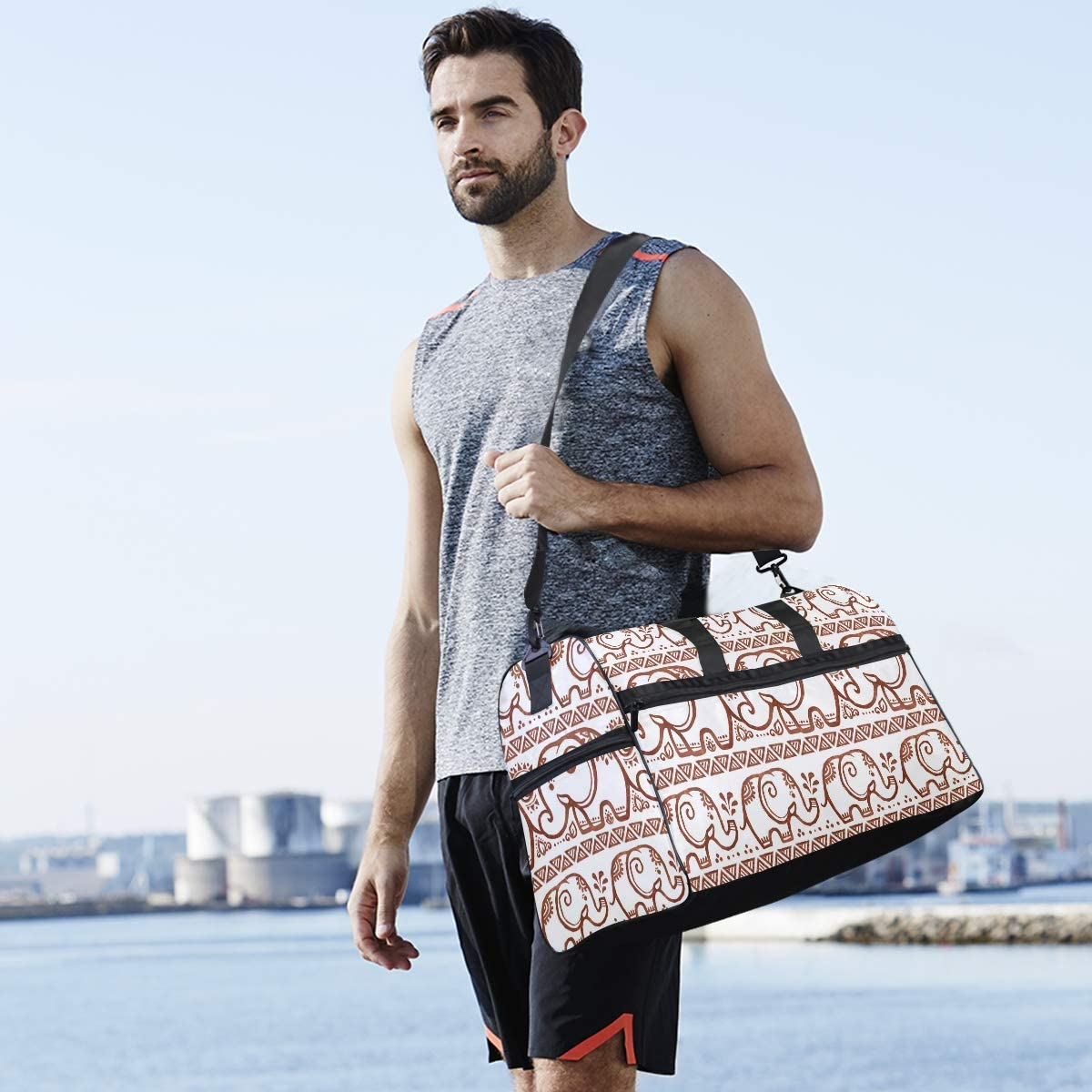 Ethnic Elephants Sports Gym Bag with Shoes Compartment Travel Duffel Bag for Men and Women