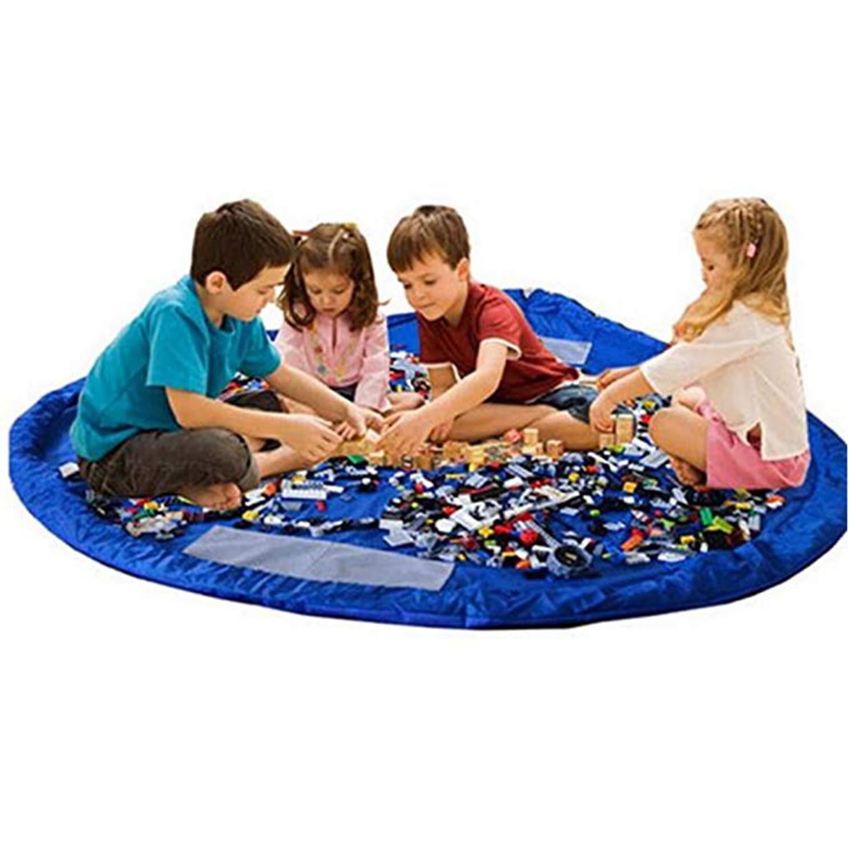 Bodenmatte Spielzeugmatte 90cm // 35 Zoll, Blau 2PCS AIBAB Tragbare Spielzeug Aufbewahrungstasche Kordelzug Strandmatte
