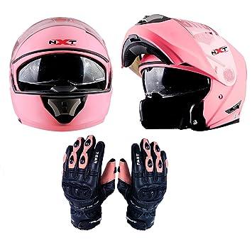 Casco intergral de motocicleta para mujer, color rosa, casco de moto con visera elevable