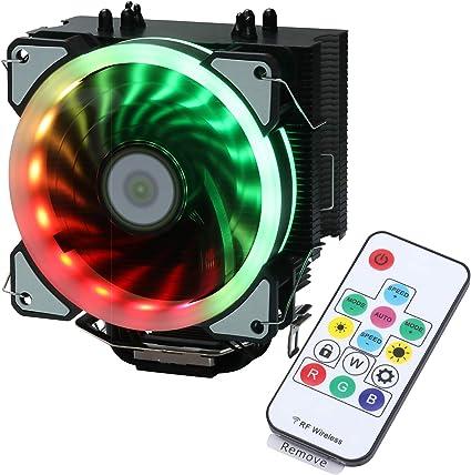 Miwatt RGB Ventilador CPU con Soporte Luz Arco Iris Automático ...