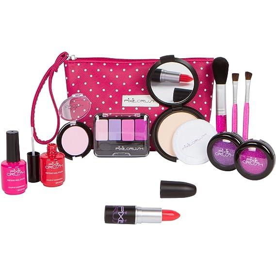 Amazon.com: PixieCrush Pretend Play Cosmetic and Makeup Set. 12 Piece Designer Kit with Pink Polka Dot Handbag: Toys & Games