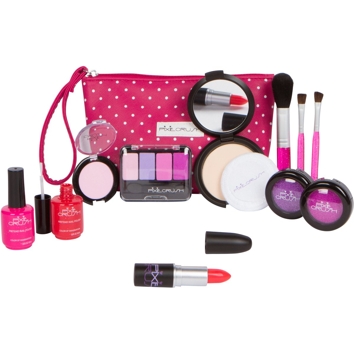 PixieCrush Pretend Play Cosmetic and Makeup Set. 13 Piece Designer Kit with Pink Polka Dot Handbag