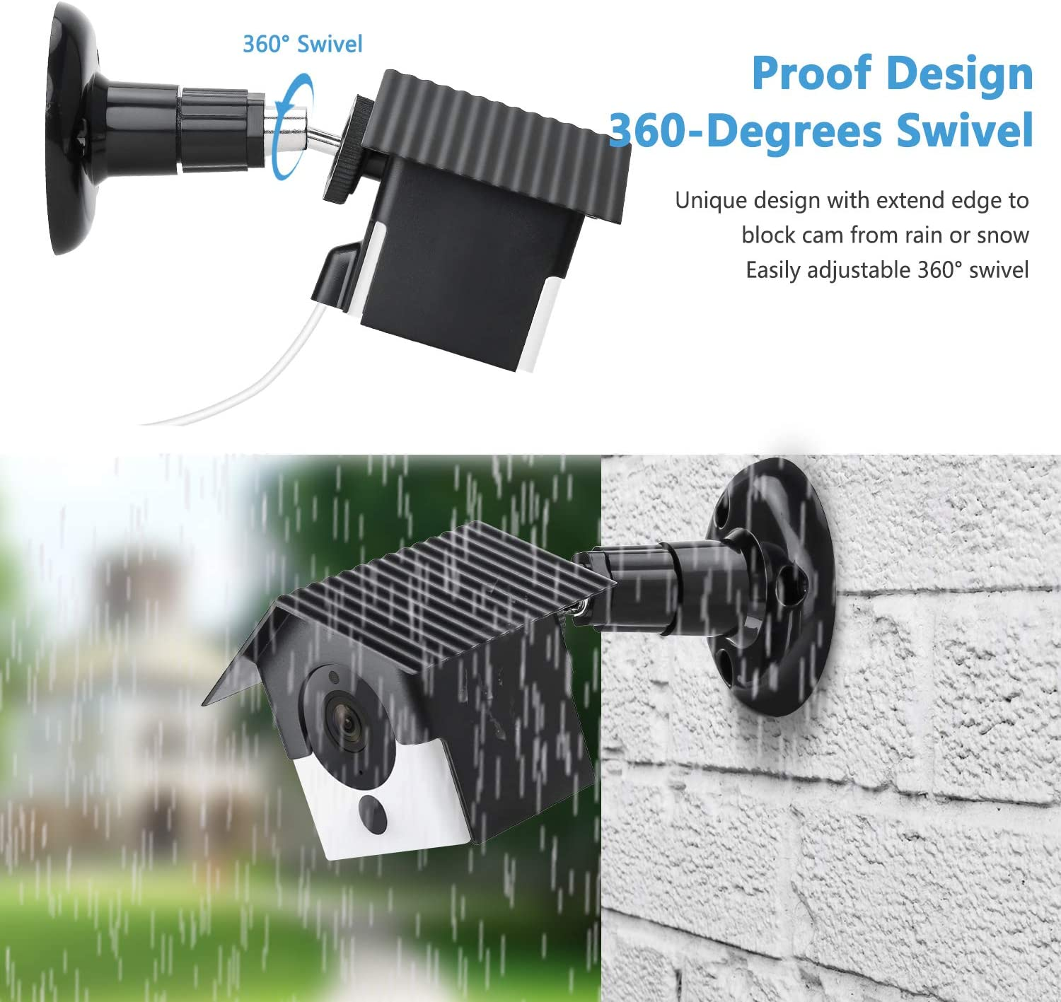 Wyze Cam V2 Wall Mount,Protective Weather Proof Pan Housing Security Mount,for Wyze Cam 1082p HD Indoor Outdoor Cam and IsmartAlarm Spot Cam White