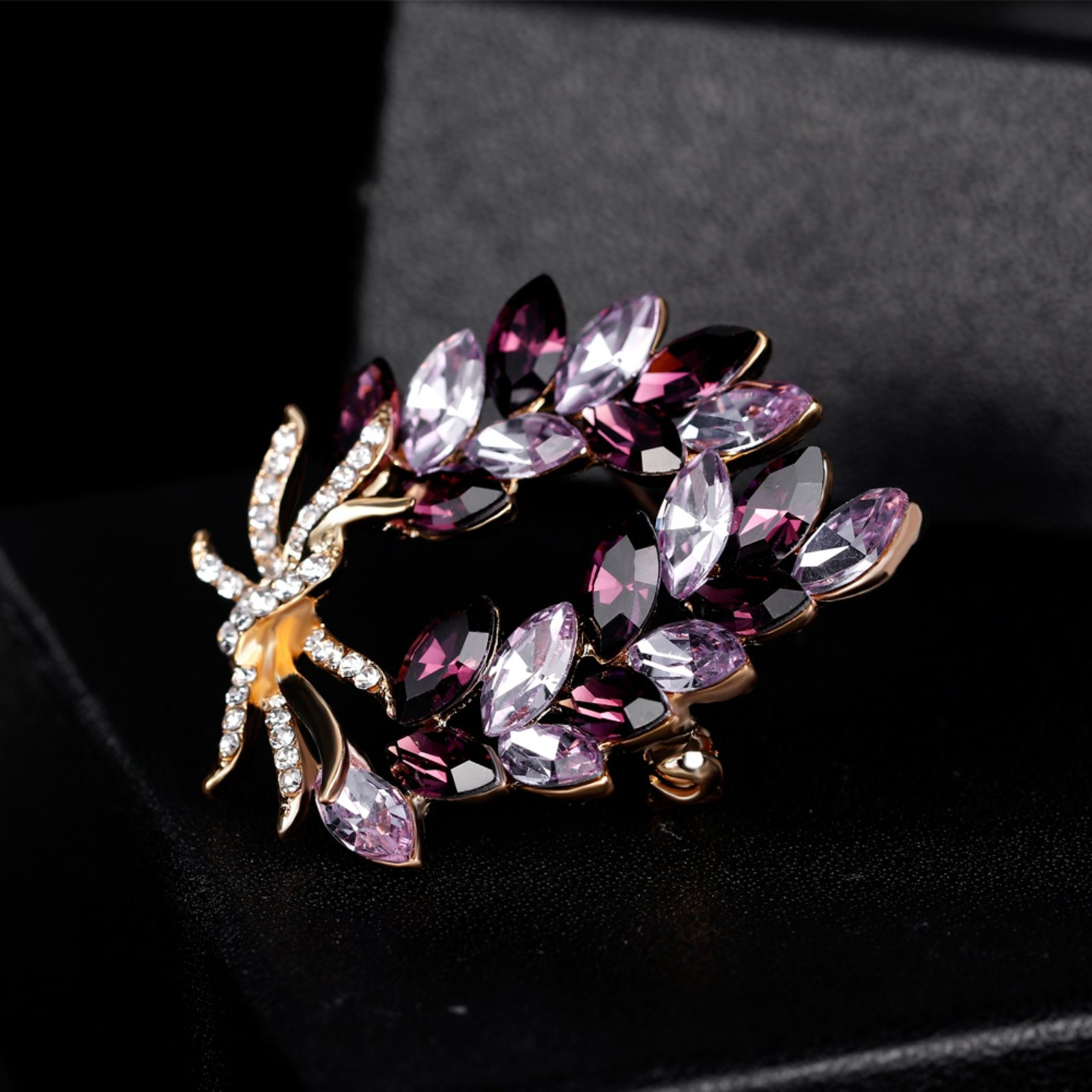 ptk12 Coat Accessories Purple Crystal Flower Casual Party Bouquets Rhinestone Brooch by ptk12 (Image #3)