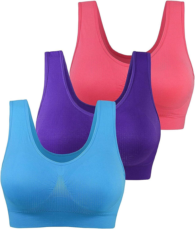 AM CLOTHES Womens Plus Size Sports Bra Padded Seamless Wireless Yoga Sleep Bra Multi Pack
