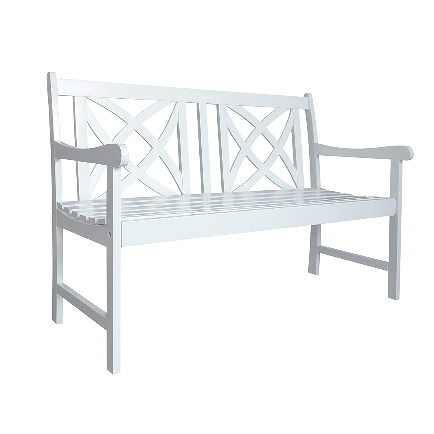 Vifah Bradley Outdoor Wood 4' Garden Bench, White V1713