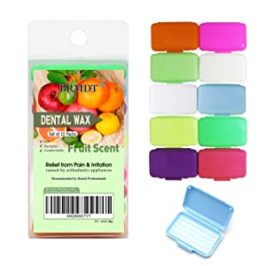 BRMDT Braces Wax, Dental Wax for Braces for Teeth (10 Pcs), Protector for Oral Mucosa for Orthodontics Braces Users, Food Grade Wax with Fruit Scents
