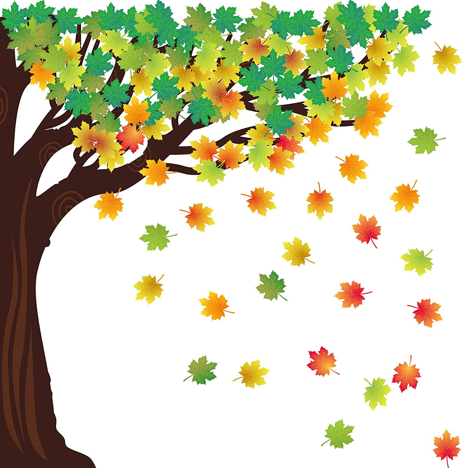 128 Pieces Classroom Tree Bulletin Board Decor Woodland Whimsy Bulletin Board Autumn Thanksgiving Seasonal Tree Cutout with Fall Maple Leaves Cutouts and Green Leaves Cutout for Chalkboard Wall Decor